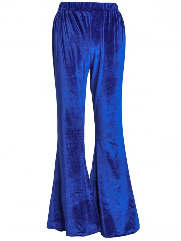 XL BLUE High Waisted Solid Color Boot Cut Velvet Pants