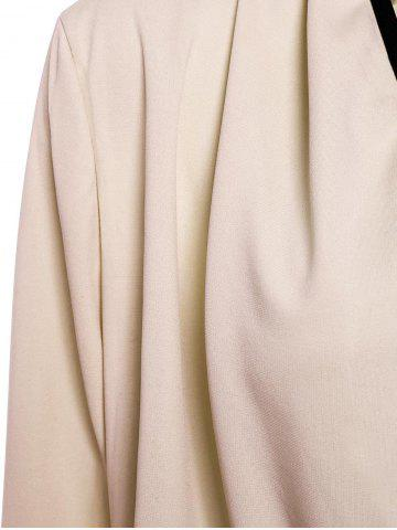 Discount Stylish Color Spliced Irregular Hem Long Sleeve Women's Coat - ONE SIZE(FIT SIZE XS TO M) APRICOT Mobile