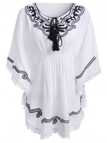 Latest Ethnic Style Tie Neck Embroidery Batwing Sleeves Blouse For Women