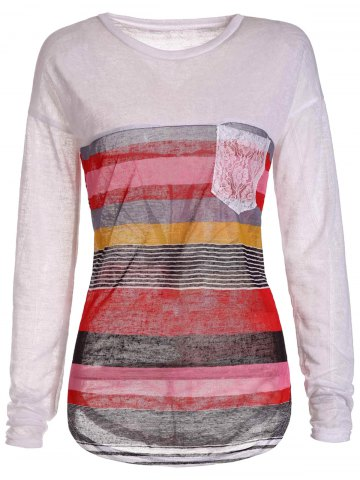 Medium ORANGE Striped Jewel Neck Long Sleeve Irregular T Shirt