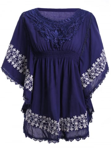 Latest Ethnic Style Round Neck Lace Embroidery Batwing Sleeve Blouse For Women