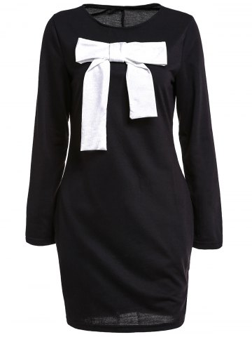 Outfits Bowknot Insert Mini Casual Classy T-Shirt Dress BLACK M