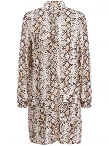 Sexy Long Sleeve Python Printed Shirt Dress For Women - Apricot - 2xl