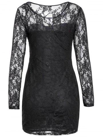 Chic Sexy Scoop Neck Lace Spliced Slimming Long Sleeve Women's Dress - S BLACK Mobile