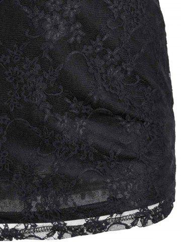 Affordable Sexy Scoop Neck Lace Spliced Slimming Long Sleeve Women's Dress - S BLACK Mobile