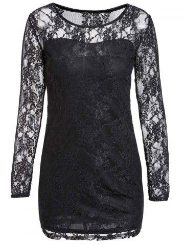 Sexy Scoop Neck Lace Spliced Slimming Long Sleeve Women's Dress - BLACK M