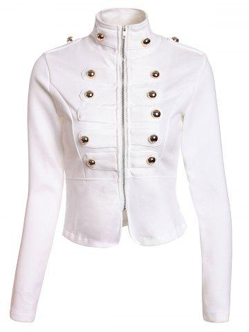Trendy Fashionable Stand Collar Double-Breasted Zipper Long Sleeve Women's Jacket WHITE M