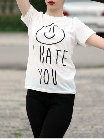 Outfits Women's Stylish Round Neck Short Sleeve Letter Print T-Shirt