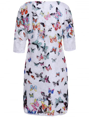 Fancy Butterfly 3/4 Sleeve Lace Sheath Dress - XL AS THE PICTURE Mobile