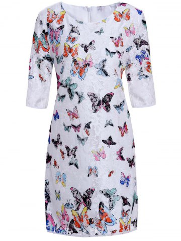 Affordable Butterfly 3/4 Sleeve Lace Sheath Dress AS THE PICTURE XL