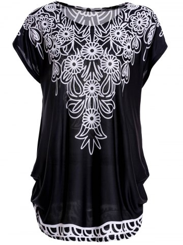 Outfit Bohemian Scoop Neck Short Sleeve Floral Print Loose-Fitting Black T-Shirt For Women