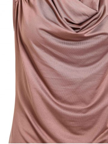 Shop Stylish Draped Collar Studded Solid Color Top For Women - M BROWN Mobile