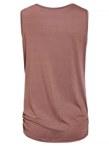 Trendy Stylish Draped Collar Studded Solid Color Top For Women - M BROWN Mobile