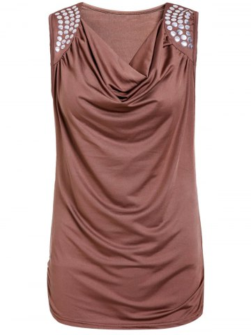 Trendy Stylish Draped Collar Studded Solid Color Top For Women BROWN L