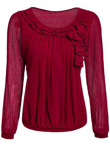 Buy Pleated Sleeve Ruffle Neck Blouse WINE RED M
