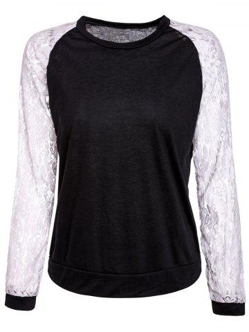 Shops Sweet Round Neck Lace Splicing Long Sleeve Sweatshirt For Women