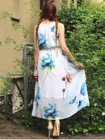 Fashion Sleeveless Romantic Bohemian Floral Cocktail Dress - S WHITE Mobile