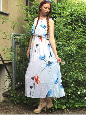 Buy Sleeveless Romantic Bohemian Floral Cocktail Dress - S WHITE Mobile