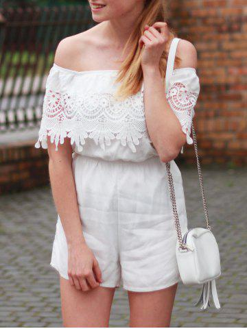 Fashion Stylish Women's Off The Shoulder Lace Spliced Crocheting Romper
