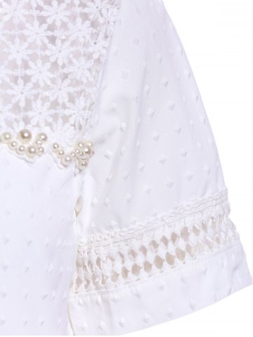 Trendy Sweet Scoop Neck Short Sleeve Bead Embellished Lace Hollow Design Solid Color Women's Blouse - L WHITE Mobile