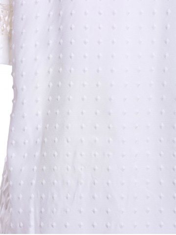 Buy Sweet Scoop Neck Short Sleeve Bead Embellished Lace Hollow Design Solid Color Women's Blouse - L WHITE Mobile