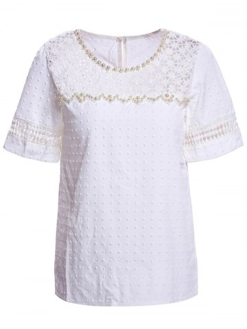 Affordable Sweet Scoop Neck Short Sleeve Bead Embellished Lace Hollow Design Solid Color Women's Blouse