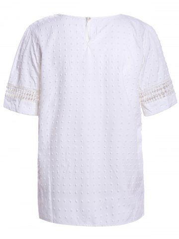 Trendy Sweet Scoop Neck Short Sleeve Bead Embellished Lace Hollow Design Solid Color Women's Blouse - XL WHITE Mobile