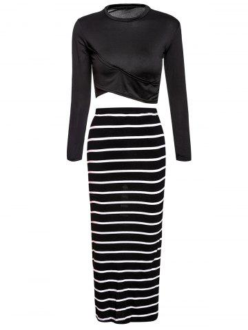 Hot Turtle Neck Long Sleeve Crop Top + Bodycon Striped Maxi Skirt Twinset BLACK L