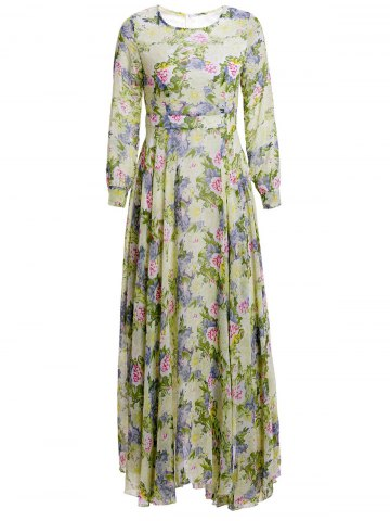 Store Floral Print Maxi Long Sleeve Dress GREEN M