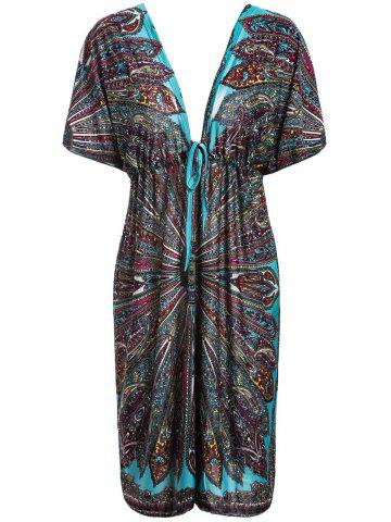 Trendy Bohemian Plunging Neck Short Sleeve Waist Drawstring Printed Women's Dress