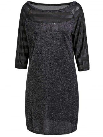 Outfit Slimming Round Neck 1/2 Sleeve Sequined See-Through Women's Dress BLACK S