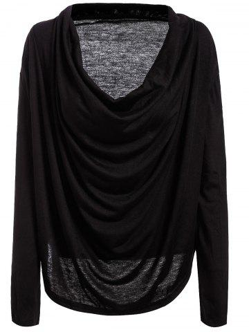 Discount Plunging Neck Long Sleeve Plain T-Shirt