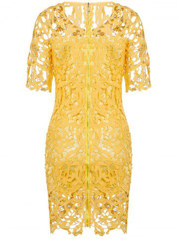 New Round Neck Hollow Out Lace Sheath Dress - S YELLOW Mobile