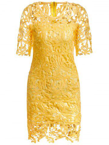 Store Round Neck Hollow Out Lace Sheath Dress YELLOW M