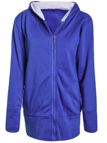 Casual Hooded Long Sleeve Zipper Design Women's Coat - BLUE XL