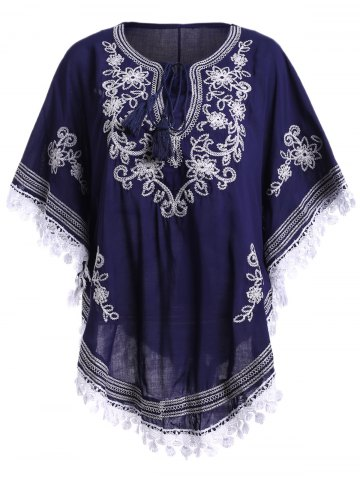 Buy Bohemian Batwing Sleeves Embroidery Blouse For Women