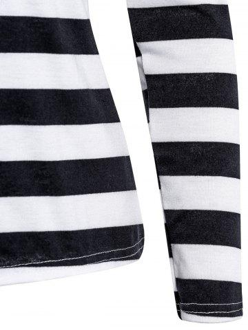 Outfits Stylish Scoop Neck Long Sleeve Striped Laciness Women's T-Shirt - M BLACK Mobile