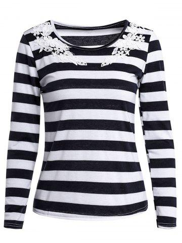Buy Stylish Scoop Neck Long Sleeve Striped Laciness Women's T-Shirt - M BLACK Mobile