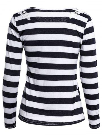 Online Stylish Scoop Neck Long Sleeve Striped Laciness Women's T-Shirt - L BLACK Mobile