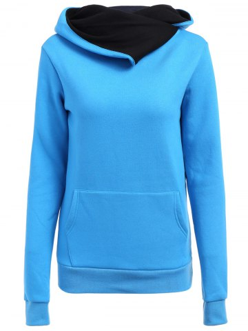 Trendy Casual Style Loose-Fitting Solid Color Long Sleeve Women's Hoodie BLUE L