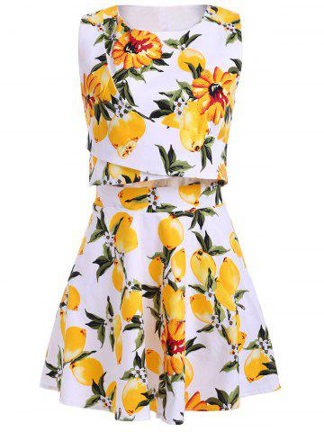 Cheap Trendy Floral Print Jewel Neck Sleeveless Two Piece Dress For Women