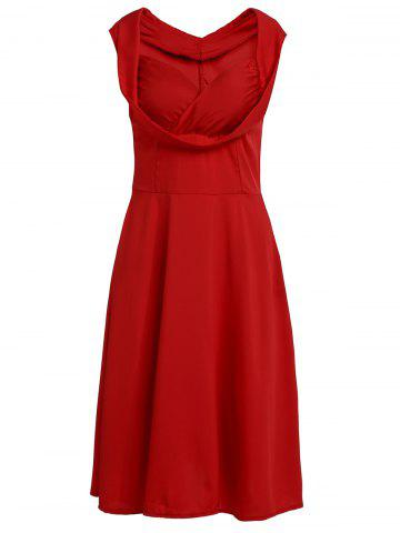 Store Retro Sweetheart Neck Solid Color Midi Dress For Women