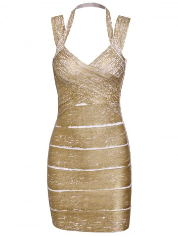 Discount Sweetheart Neck Backless Fitted Bandage Dress