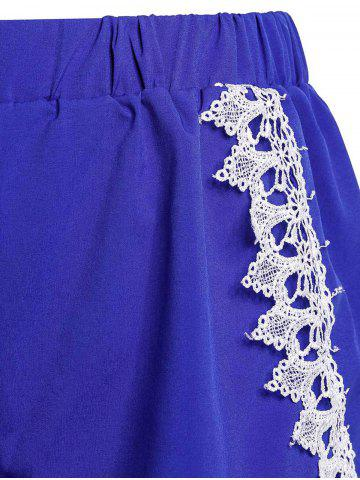 Discount Sweet Elastic Waist Laced Loose Shorts For Women - L BLUE Mobile
