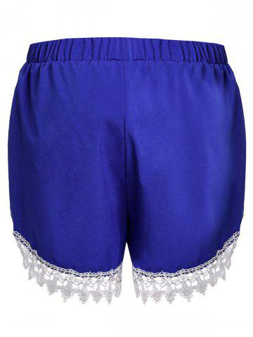 Chic Sweet Elastic Waist Laced Loose Shorts For Women - L BLUE Mobile