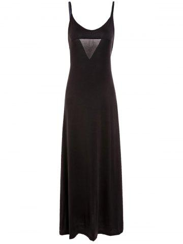 V-Neck Spaghetti Strap Backless Maxi Evening Dress - Deep Brown - L