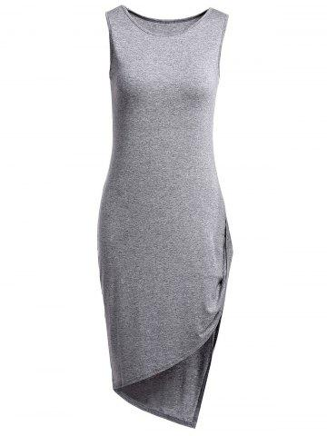Shops Stylish Round Collar Sleeveless Asymmetrical Pure Color Women's Dress