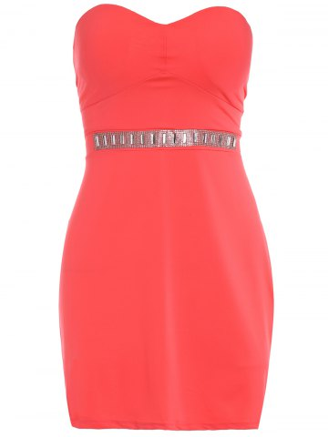 Store Alluring Strapless Sleeveless Rhienstoned Dress + Solid Color Skirt Women's Twinset