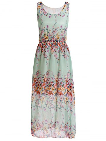 Unique Floral Print Chiffon Maxi Sleeveless Dress