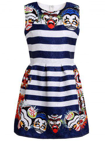 Fashion Retro Round Collar Striped Facial Makeup Print Sleeveless Dress For Women